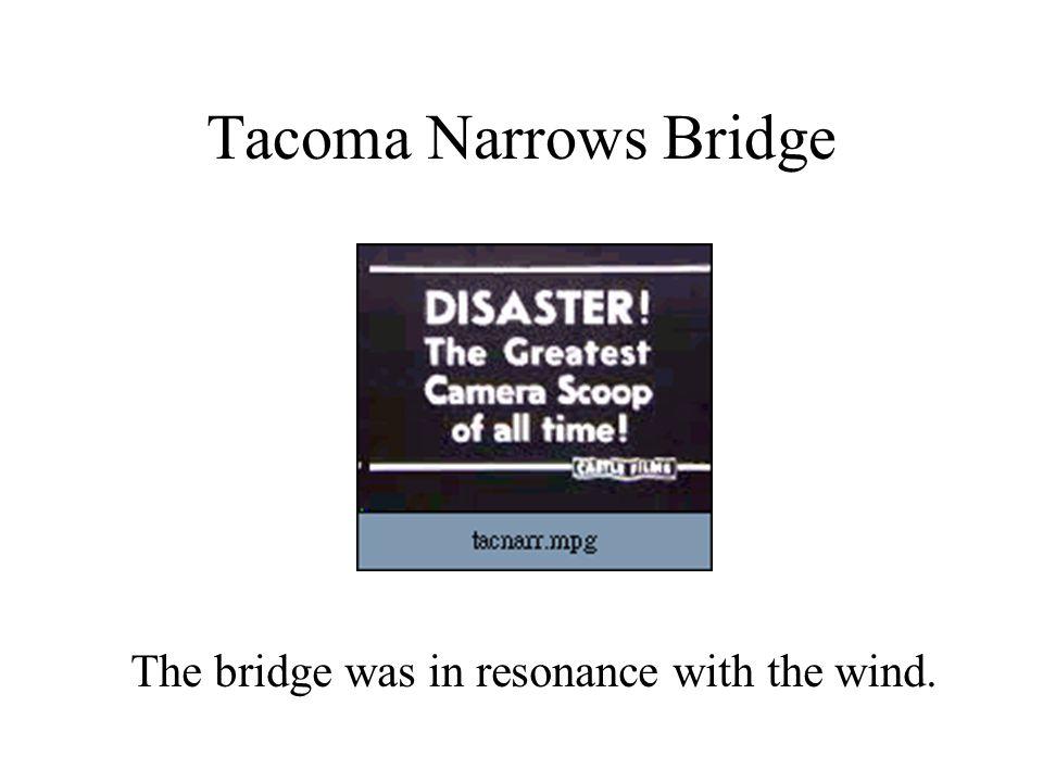 Tacoma Narrows Bridge The bridge was driven by the wind.