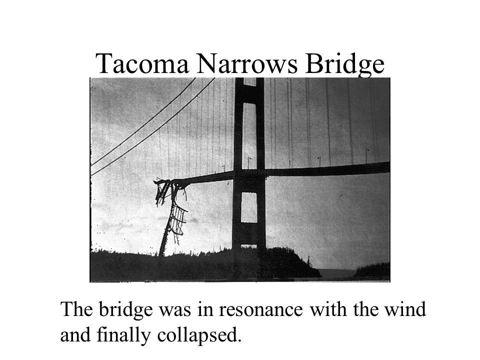 Tacoma Narrows Bridge The bridge was in resonance with the wind.