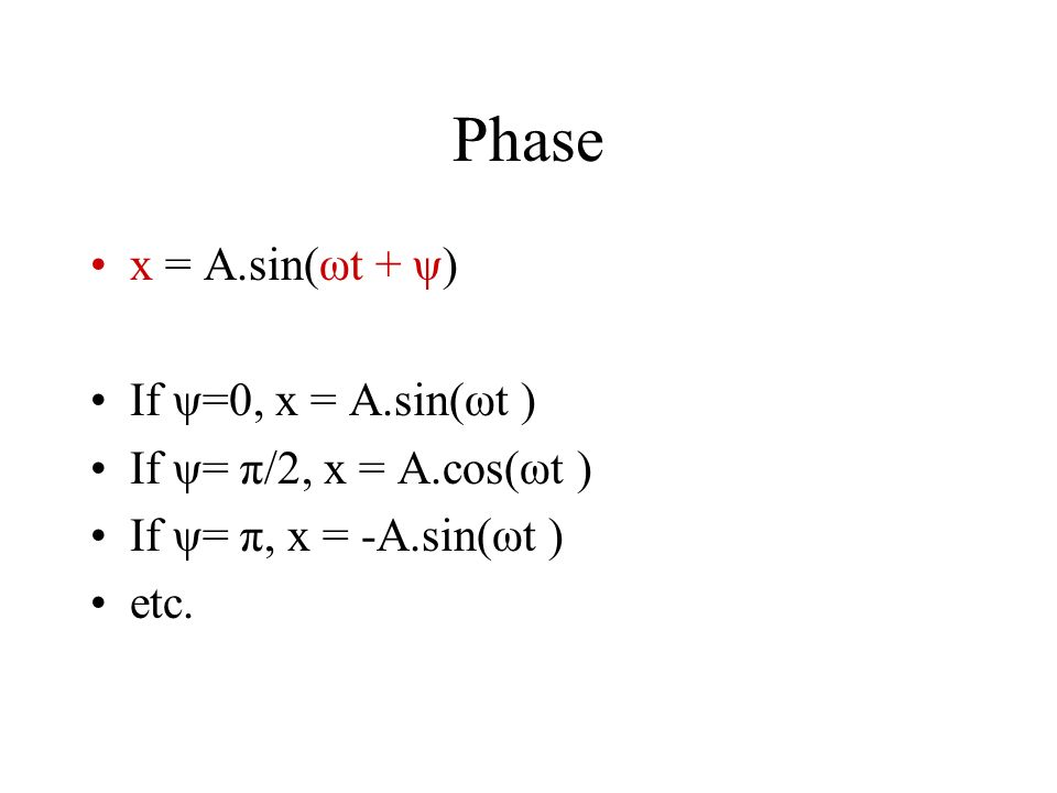 Phase and Initial Phase x = A.sin(ωt + ψ) ωt + ψis called the phase. At t = 0, phase reduces to ψ. x = A.sin(ψ) ψis called the initial phase.
