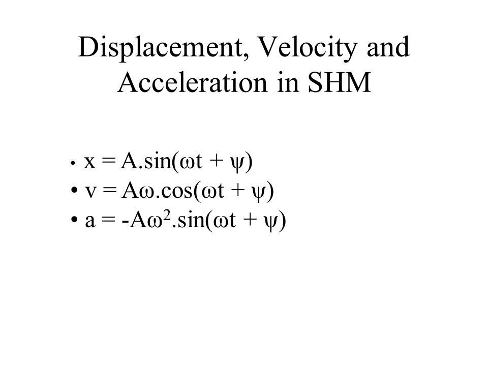 What is the maximum acceleration in this motion? a o = -Aω 2 or Aω 2 The maximum acceleration occurs at the positions with maximum displacement. i.e.