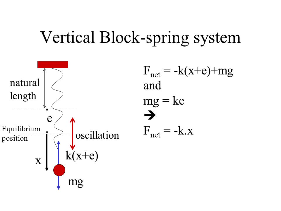 Vertical Block-spring system oscillation natural length Equilibrium position Suppose that the block has moved a displacement x below the equilibrium p