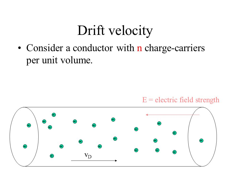 Drift velocity Charge-carriers in a metal move with constant speed under an electric field. The constant speed is called the drift velocity v D. E = e