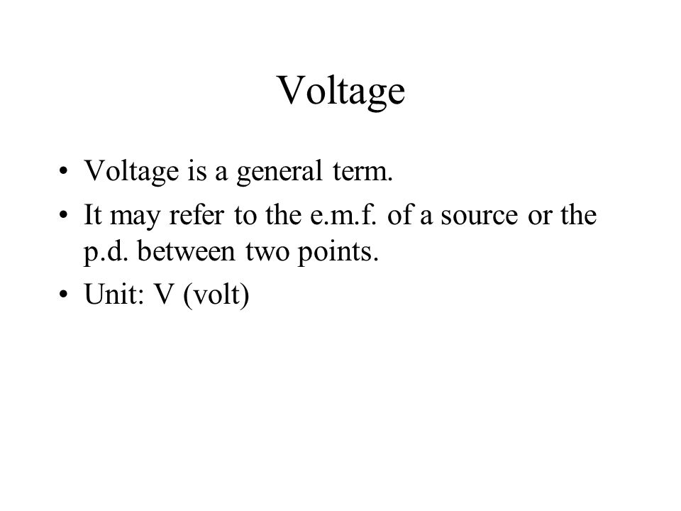 Potential difference (p.d.) The p.d. between two points in the circuit is the amount of energy change as one coulomb of charge passes from one point t