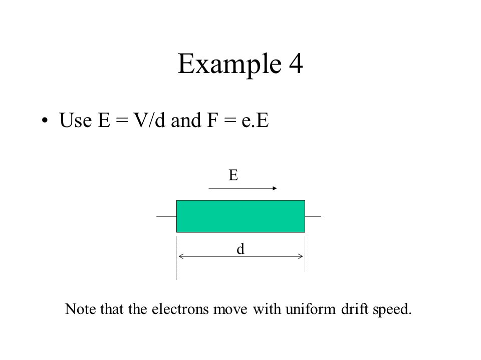 Voltage and electric field strength XY 1.A p.d. V between points X and Y. d 2. The separation XY is d. 3. There is an electric field E between X and Y