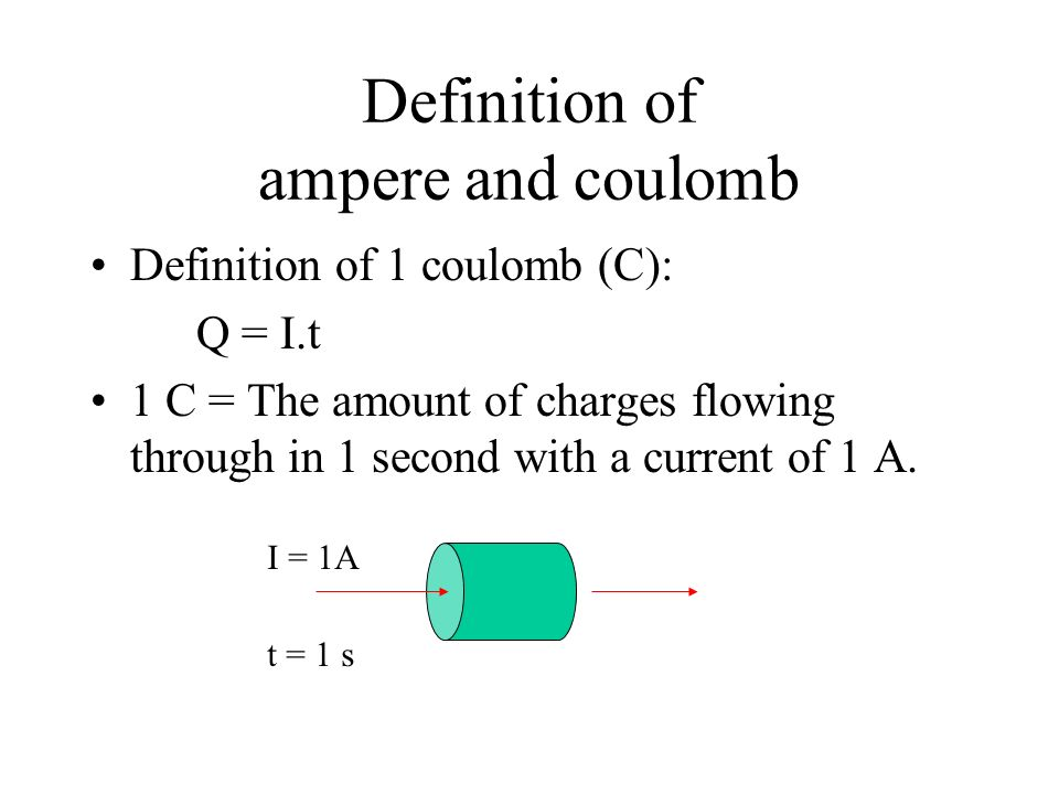 Definition of ampere and coulomb Definition of 1 coulomb (C): Q = I.t 1 C = The amount of charges flowing through in 1 second with a current of 1 A.