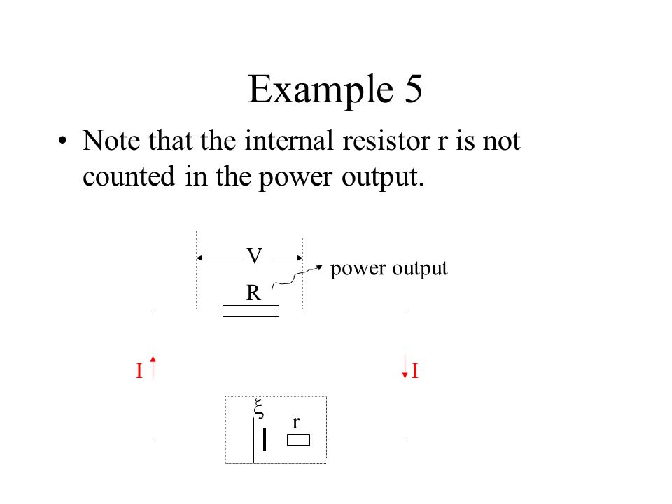 Power of a cell If the e.m.f. of a cell is ξand it provides a current I for an external circuit, then the power of the cell is r R II