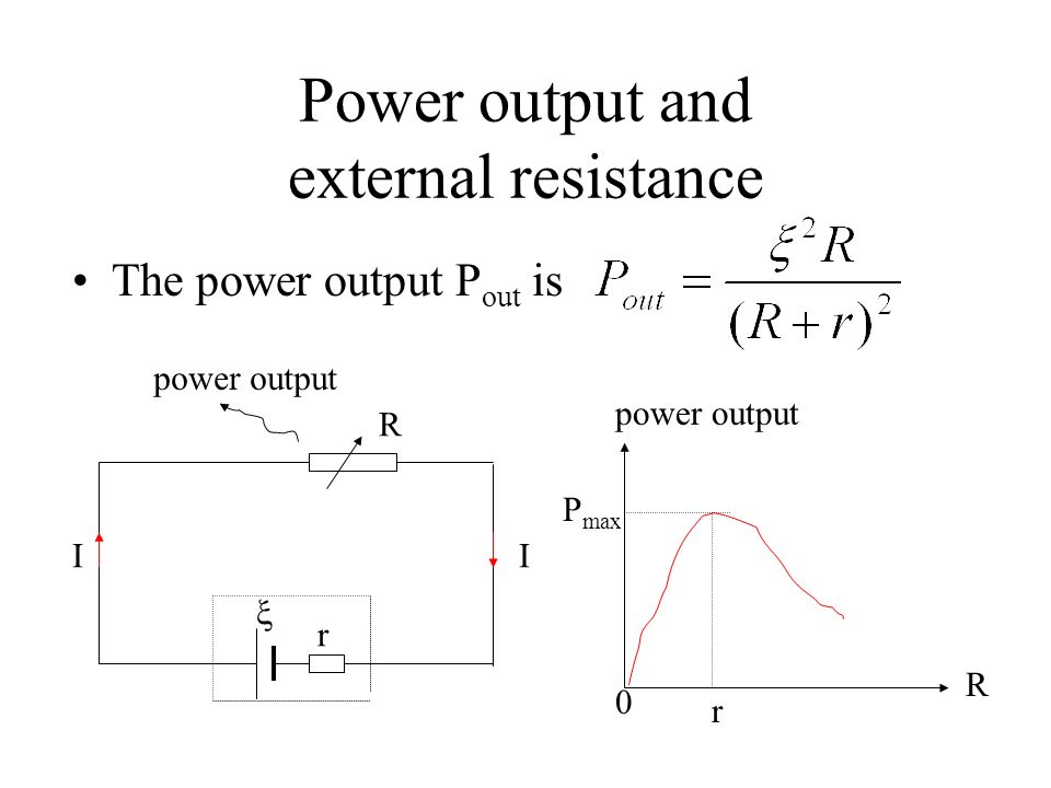 Example 5 Note that the internal resistor r is not counted in the power output. r R II power output V