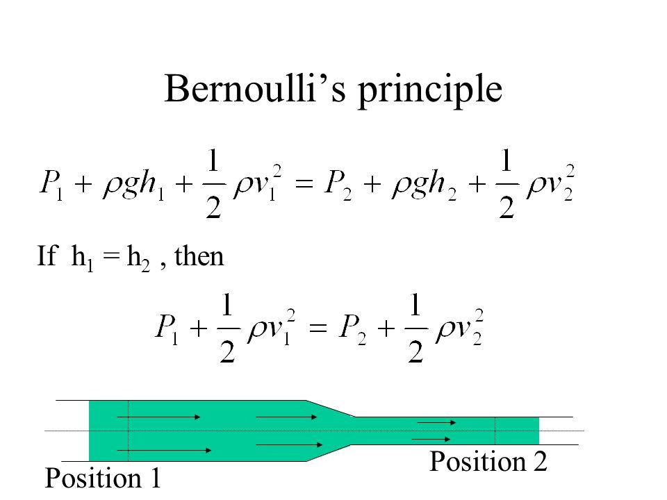 Bernoullis principle If h 1 = h 2, then Position 1 Position 2