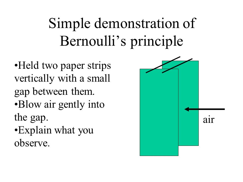 Simple demonstration of Bernoullis principle Held two paper strips vertically with a small gap between them. Blow air gently into the gap. Explain wha