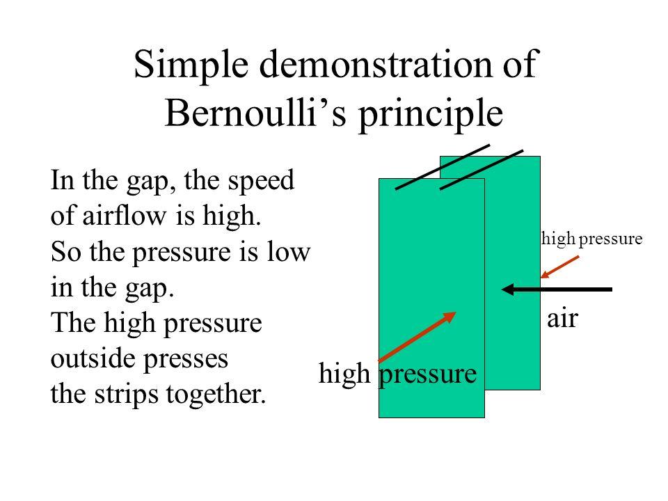 Simple demonstration of Bernoullis principle air high pressure In the gap, the speed of airflow is high. So the pressure is low in the gap. The high p