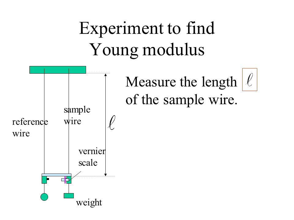 Experiment to find Young modulus Measure the length of the sample wire. reference wire sample wire weight vernier scale