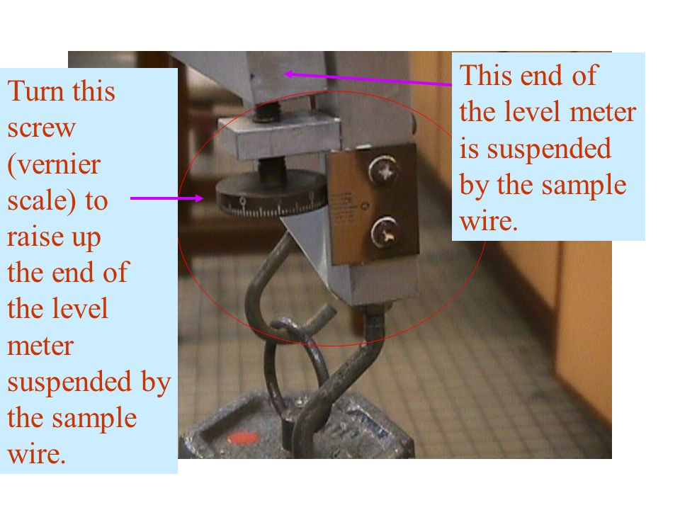 Turn this screw (vernier scale) to raise up the end of the level meter suspended by the sample wire. This end of the level meter is suspended by the s