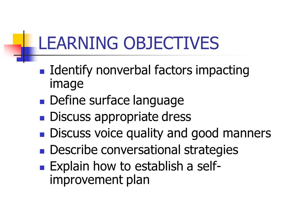 LEARNING OBJECTIVES Identify nonverbal factors impacting image Define surface language Discuss appropriate dress Discuss voice quality and good manners Describe conversational strategies Explain how to establish a self- improvement plan