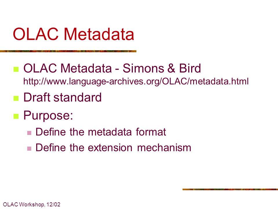 OLAC Workshop, 12/02 OLAC Metadata 1.Introduction 2.