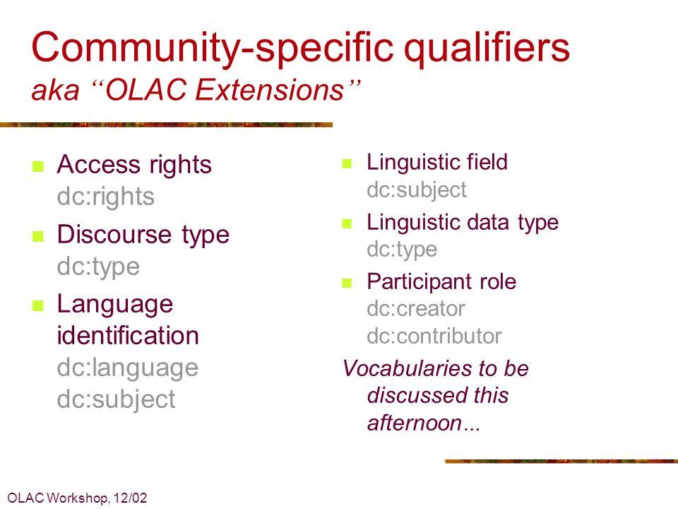 OLAC Workshop, 12/02 Refinements vs encoding schemes Refinement: Role vocabulary, e.g.