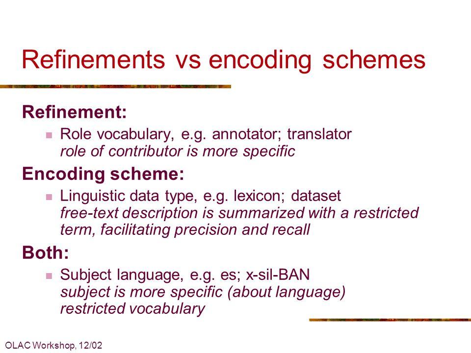 OLAC Workshop, 12/02 Example: Language...