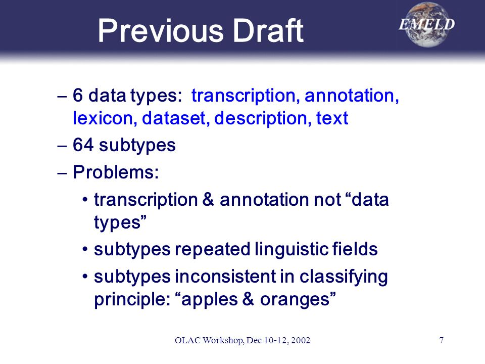 OLAC Workshop, Dec 10-12, 20027 Previous Draft –6 data types: transcription, annotation, lexicon, dataset, description, text –64 subtypes –Problems: transcription & annotation not data types subtypes repeated linguistic fields subtypes inconsistent in classifying principle: apples & oranges