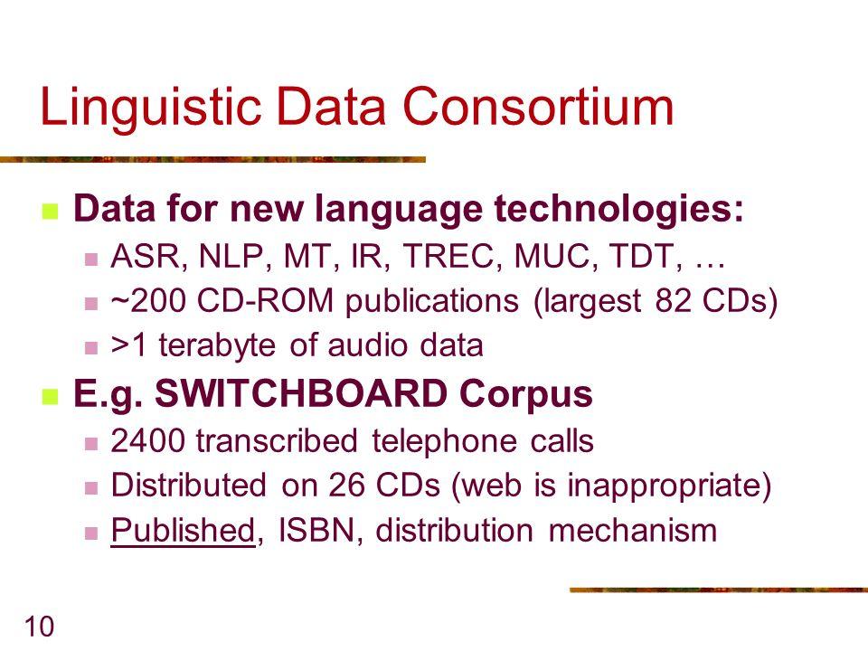 10 Linguistic Data Consortium Data for new language technologies: ASR, NLP, MT, IR, TREC, MUC, TDT, … ~200 CD-ROM publications (largest 82 CDs) >1 terabyte of audio data E.g.
