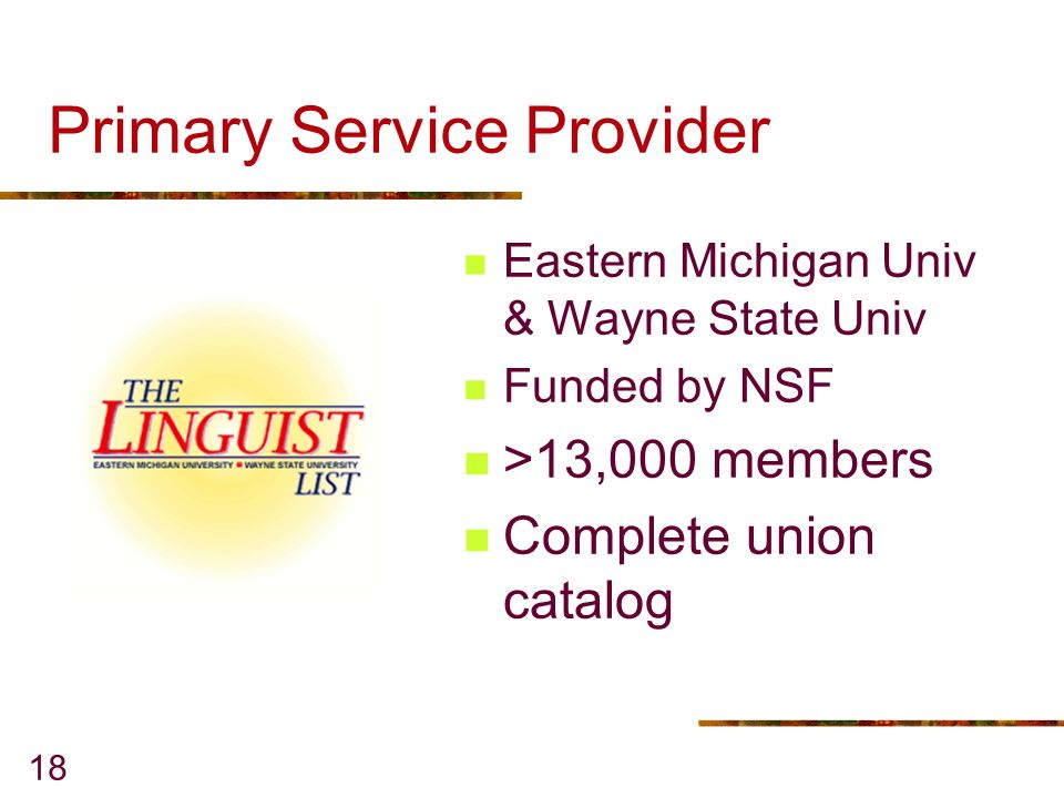 18 Primary Service Provider Eastern Michigan Univ & Wayne State Univ Funded by NSF >13,000 members Complete union catalog