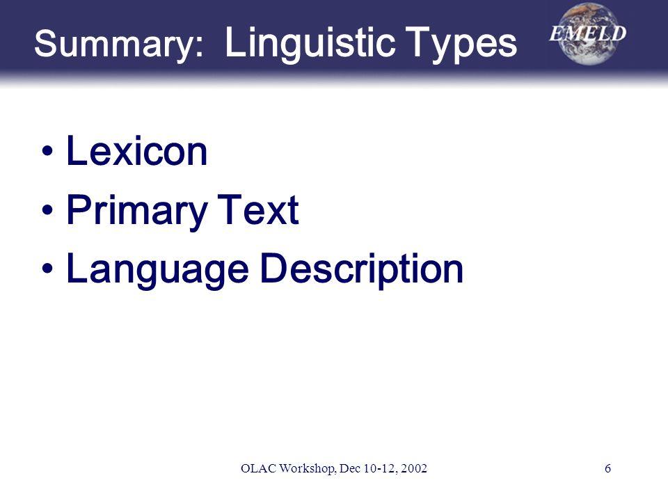 OLAC Workshop, Dec 10-12, 20026 Summary: Linguistic Types Lexicon Primary Text Language Description