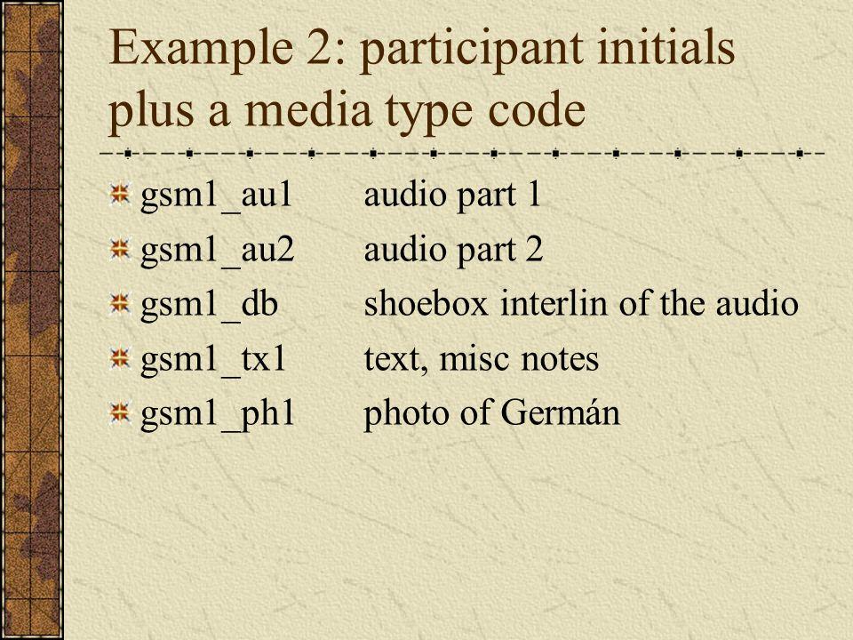 Example 2: participant initials plus a media type code gsm1_au1audio part 1 gsm1_au2audio part 2 gsm1_dbshoebox interlin of the audio gsm1_tx1text, mi