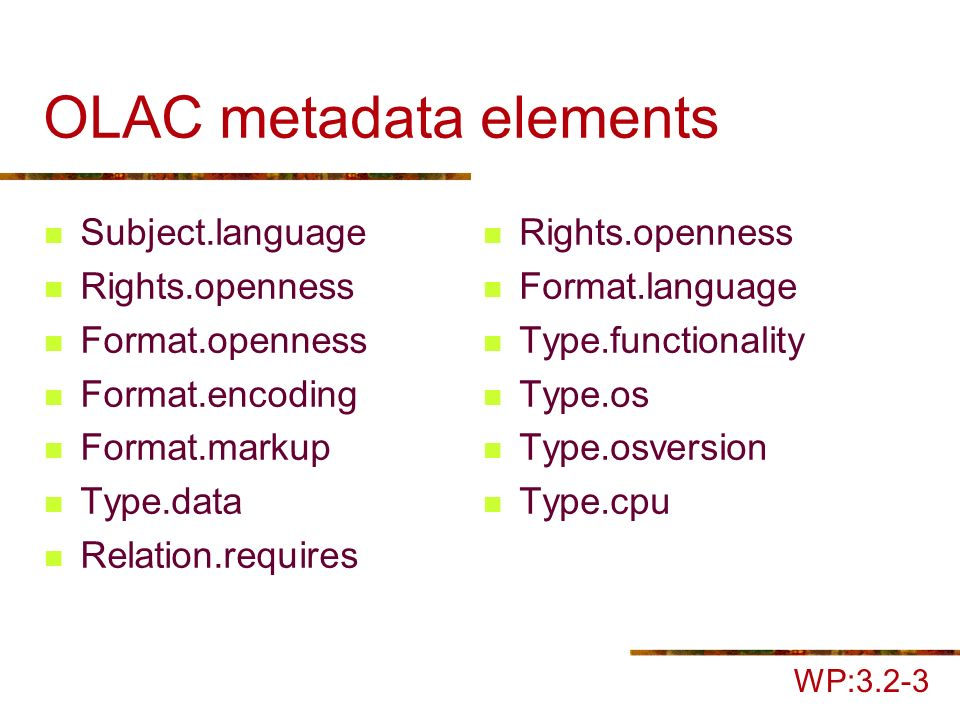 OLAC metadata elements Subject.language Rights.openness Format.openness Format.encoding Format.markup Type.data Relation.requires Rights.openness Format.language Type.functionality Type.os Type.osversion Type.cpu WP:3.2-3