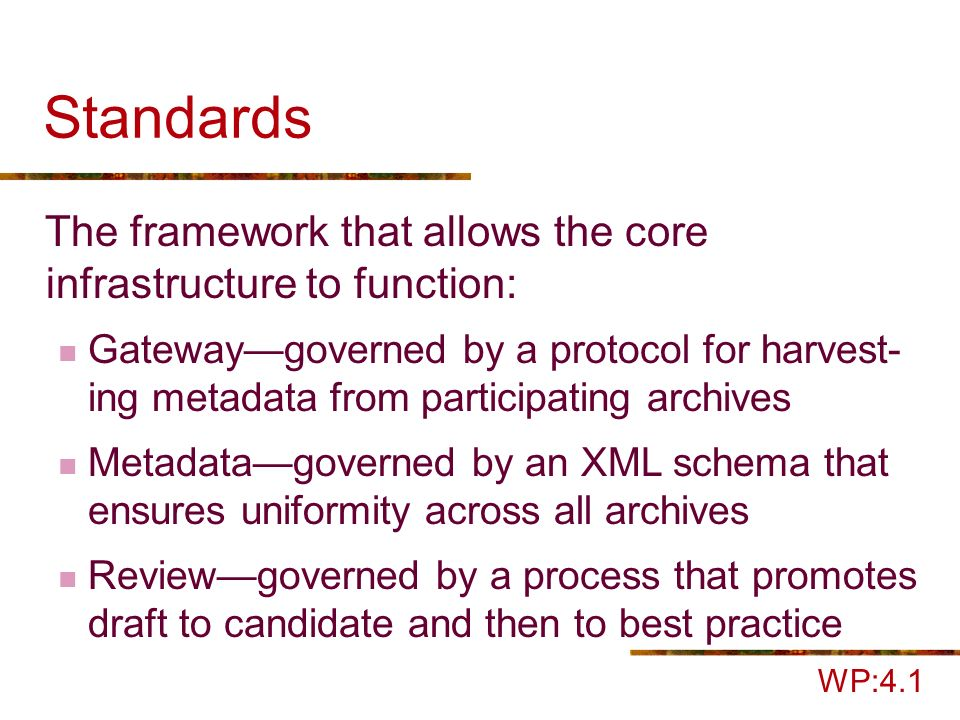 Standards The framework that allows the core infrastructure to function: Gatewaygoverned by a protocol for harvest- ing metadata from participating archives Metadatagoverned by an XML schema that ensures uniformity across all archives Reviewgoverned by a process that promotes draft to candidate and then to best practice WP:4.1