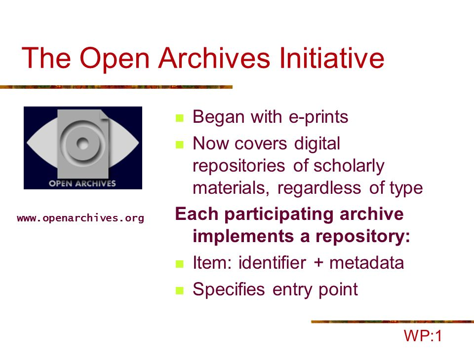 OAI Repositories and Archives WP:1