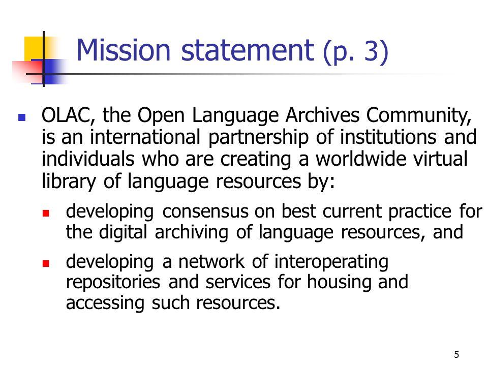 5 Mission statement (p.