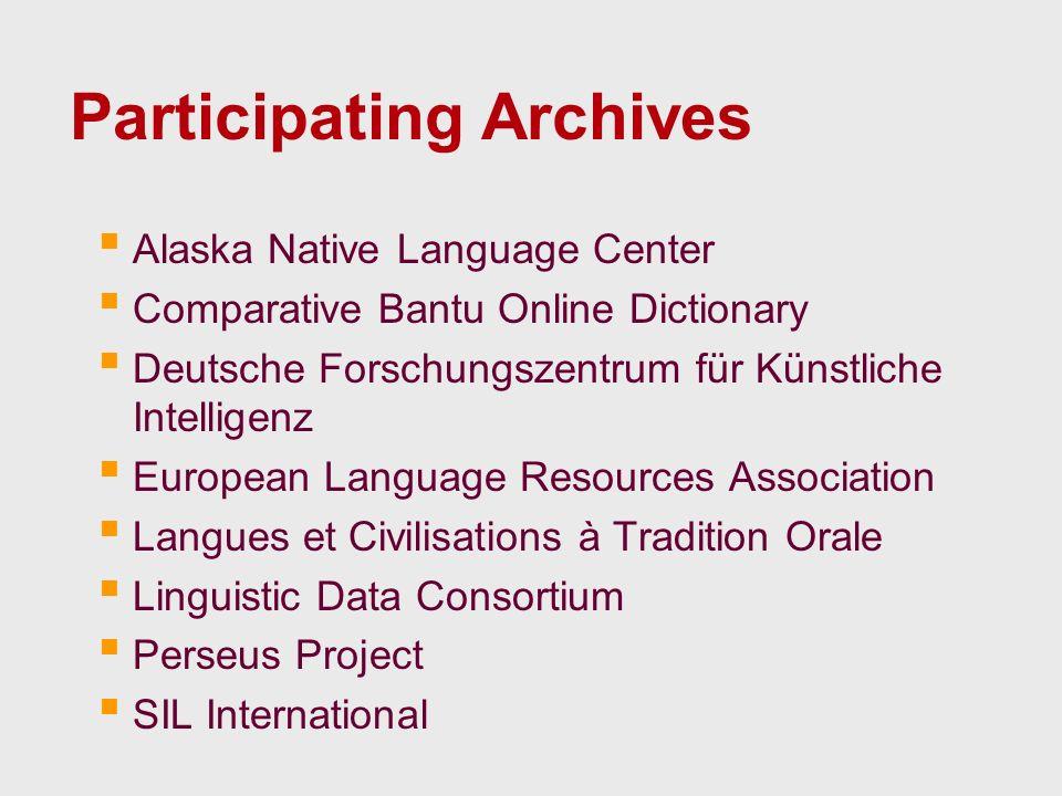 Participating Archives Alaska Native Language Center Comparative Bantu Online Dictionary Deutsche Forschungszentrum für Künstliche Intelligenz Europea