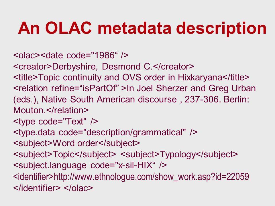 An OLAC metadata description Derbyshire, Desmond C.