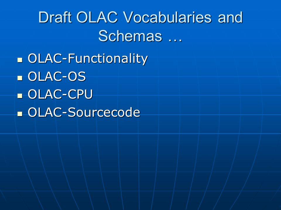 Draft OLAC Vocabularies and Schemas … OLAC-Functionality OLAC-Functionality OLAC-OS OLAC-OS OLAC-CPU OLAC-CPU OLAC-Sourcecode OLAC-Sourcecode