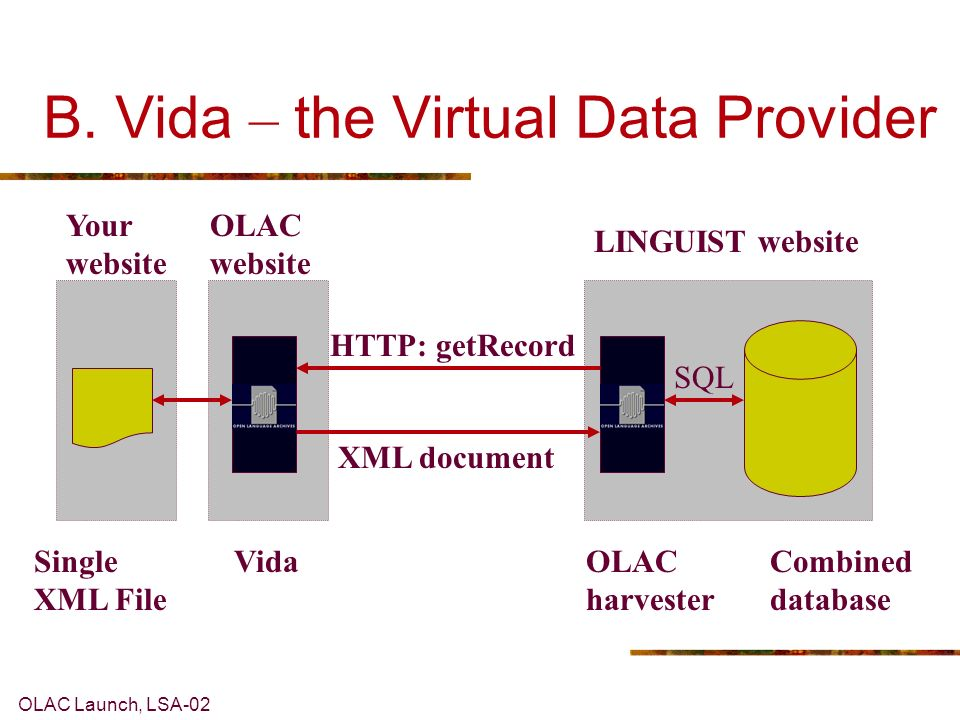 OLAC Launch, LSA-02 B. Vida – the Virtual Data Provider LINGUIST website HTTP: getRecord XML document VidaOLAC harvester Combined database SQL OLAC we