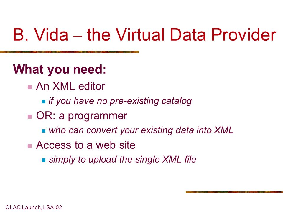 OLAC Launch, LSA-02 B. Vida – the Virtual Data Provider What you need: An XML editor if you have no pre-existing catalog OR: a programmer who can conv