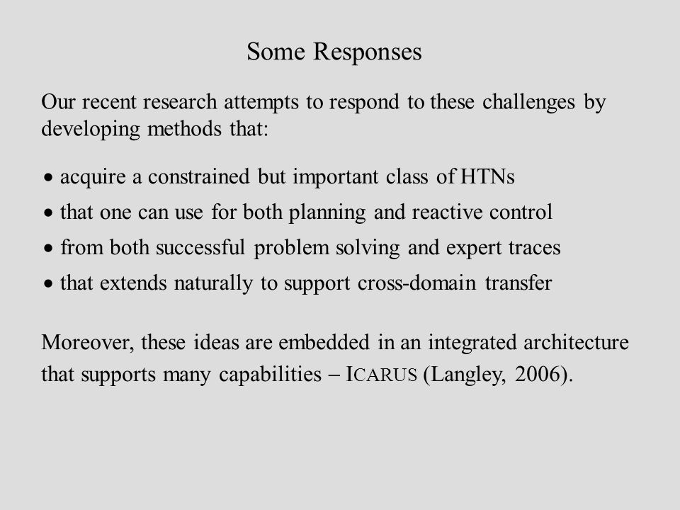 Some Responses acquire a constrained but important class of HTNs that one can use for both planning and reactive control from both successful problem