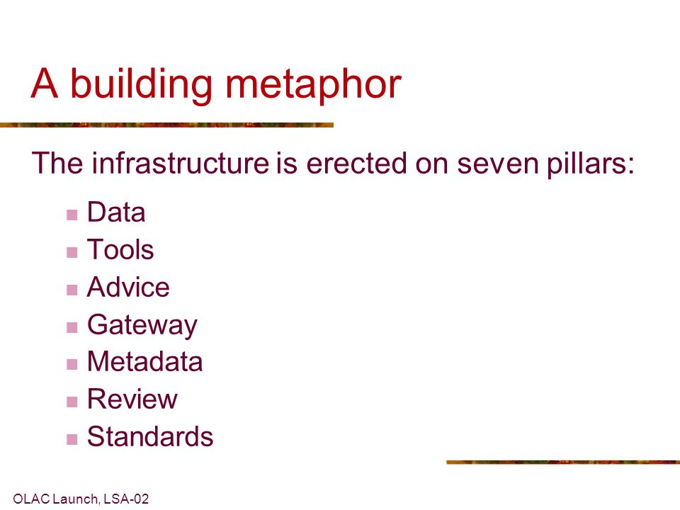 OLAC Launch, LSA-02 A building metaphor The infrastructure is erected on seven pillars: Data Tools Advice Gateway Metadata Review Standards