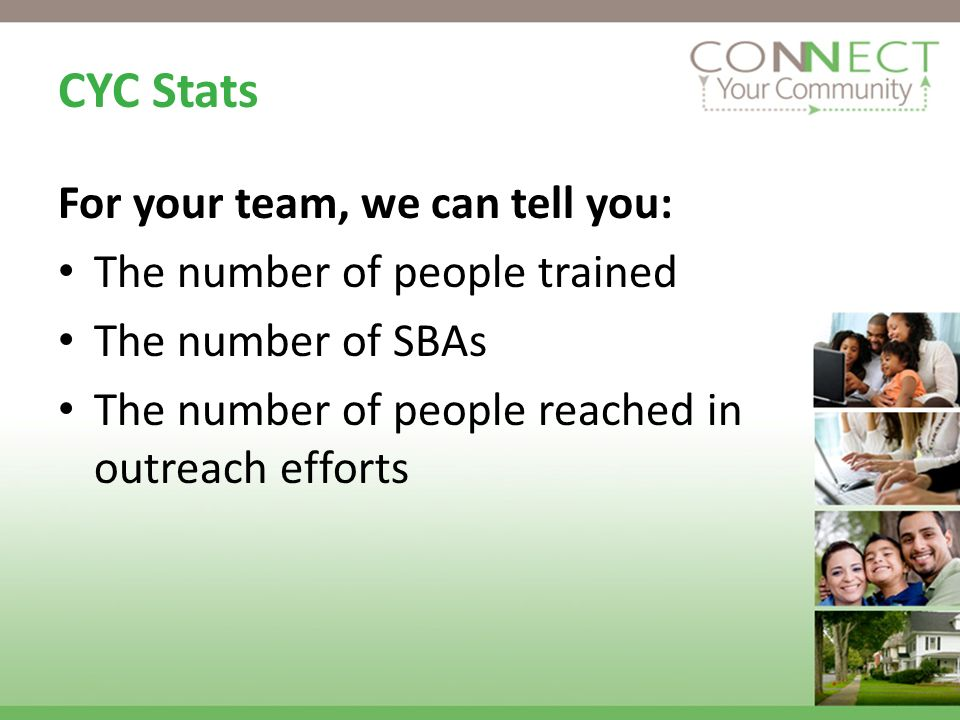 CYC Stats For your team, we can tell you: The number of people trained The number of SBAs The number of people reached in outreach efforts