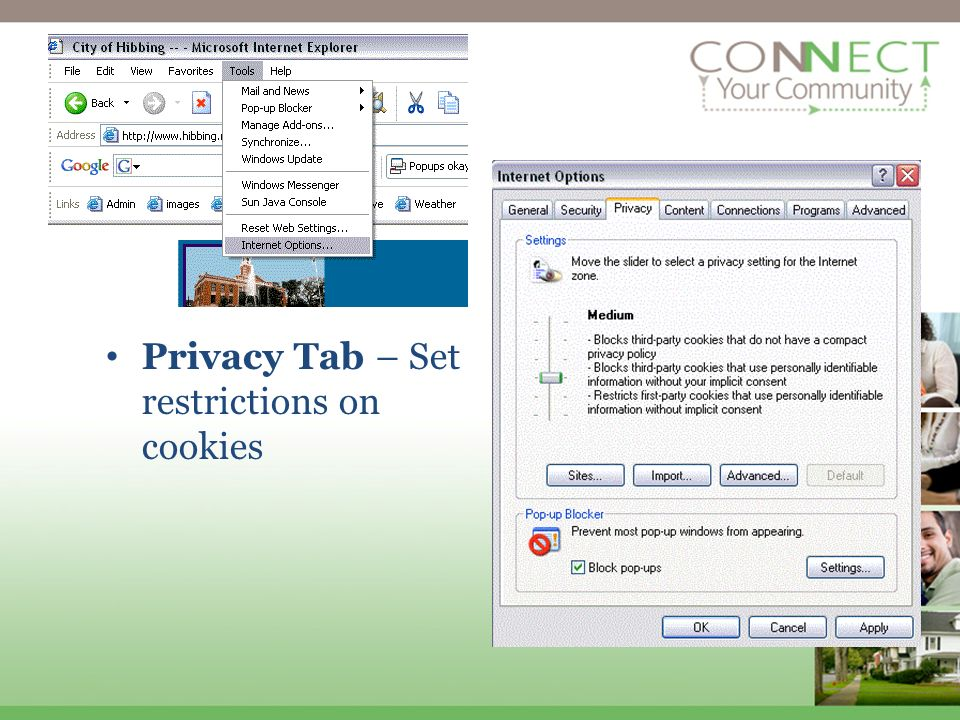 Privacy Tab – Set restrictions on cookies