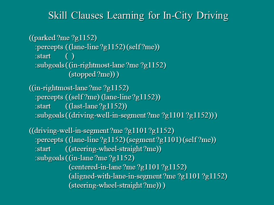Skill Clauses Learning for In-City Driving Skill Clauses Learning for In-City Driving ((parked me g1152) :percepts((lane-line g1152) (self me)) :start( ) :subgoals((in-rightmost-lane me g1152) (stopped me)) ) ((in-rightmost-lane me g1152) :percepts((self me) (lane-line g1152)) :start ((last-lane g1152)) :subgoals((driving-well-in-segment me g1101 g1152)) ) ((driving-well-in-segment me g1101 g1152) :percepts((lane-line g1152) (segment g1101) (self me)) :start ((steering-wheel-straight me)) :subgoals((in-lane me g1152) (centered-in-lane me g1101 g1152) (aligned-with-lane-in-segment me g1101 g1152) (steering-wheel-straight me)) )
