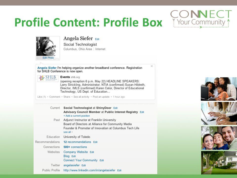 Profile Content: Profile Box