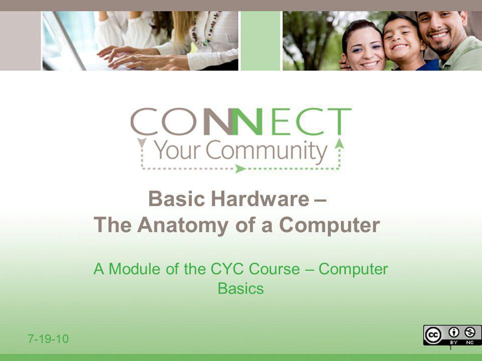1 Basic Hardware – The Anatomy of a Computer A Module of the CYC Course – Computer Basics 7-19-10