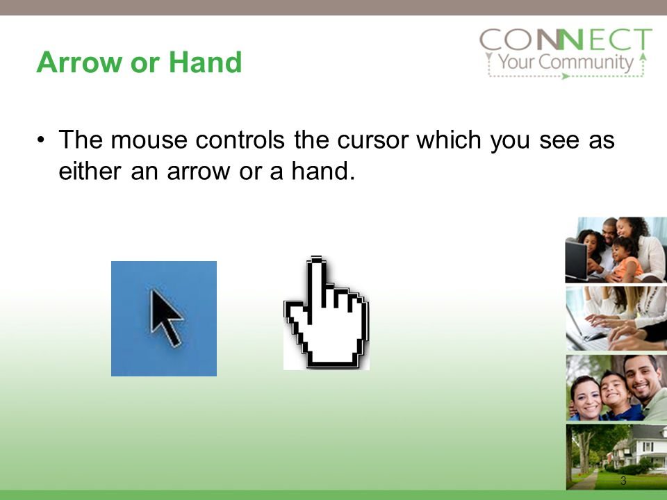 3 Arrow or Hand The mouse controls the cursor which you see as either an arrow or a hand.