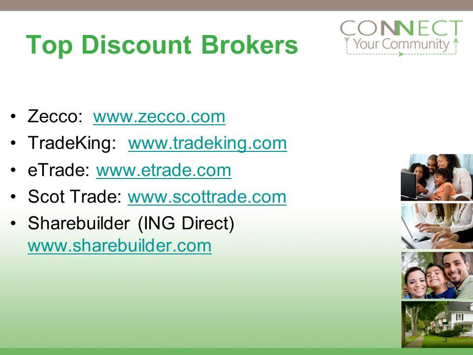 3 Top Discount Brokers Zecco: www.zecco.comwww.zecco.com TradeKing: www.tradeking.comwww.tradeking.com eTrade: www.etrade.comwww.etrade.com Scot Trade: www.scottrade.comwww.scottrade.com Sharebuilder (ING Direct) www.sharebuilder.com www.sharebuilder.com