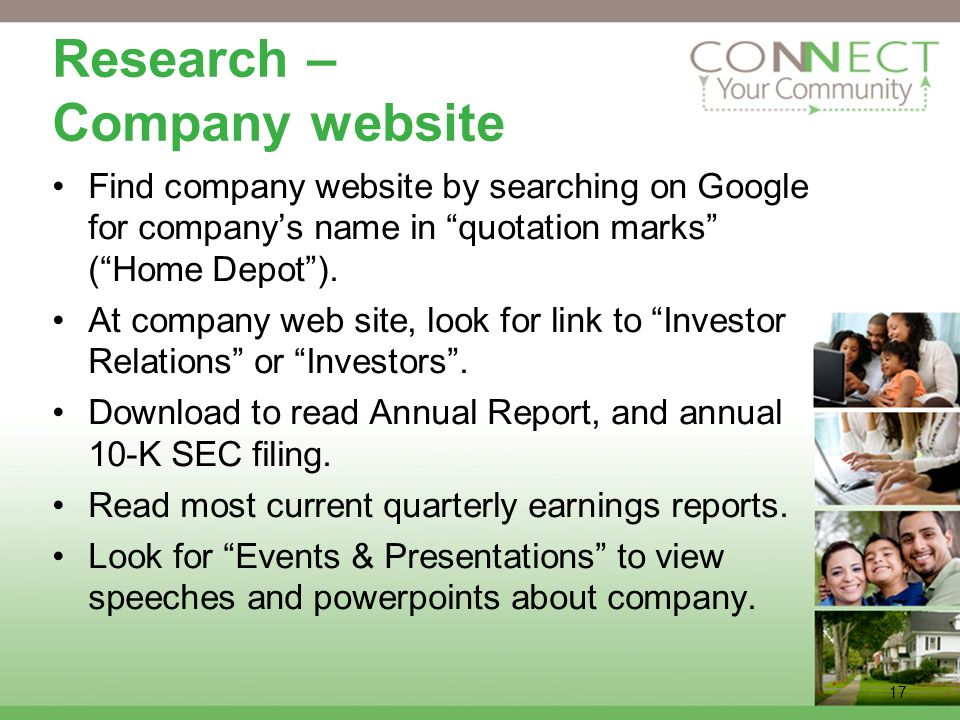 Research – Company website Find company website by searching on Google for companys name in quotation marks (Home Depot).