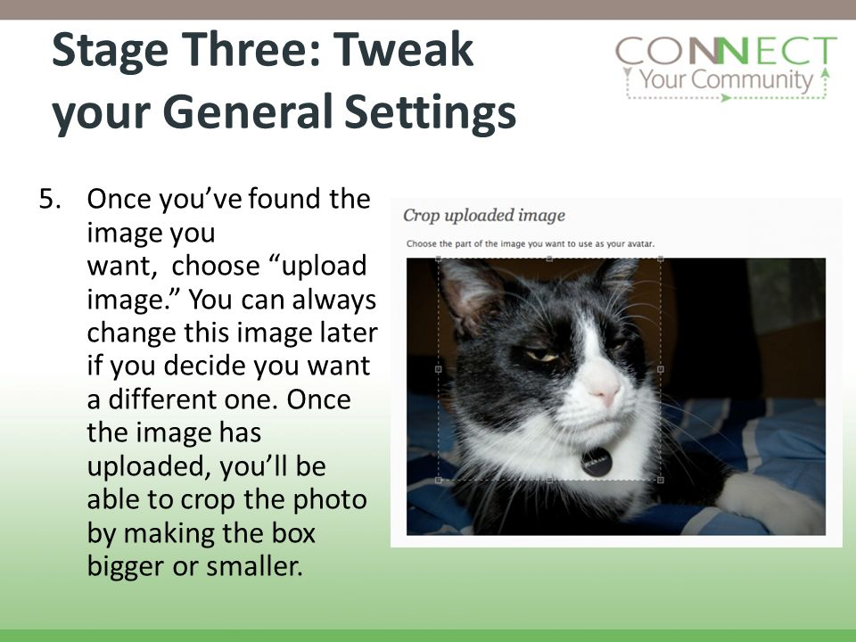Stage Three: Tweak your General Settings 5.Once youve found the image you want, choose upload image. You can always change this image later if you dec