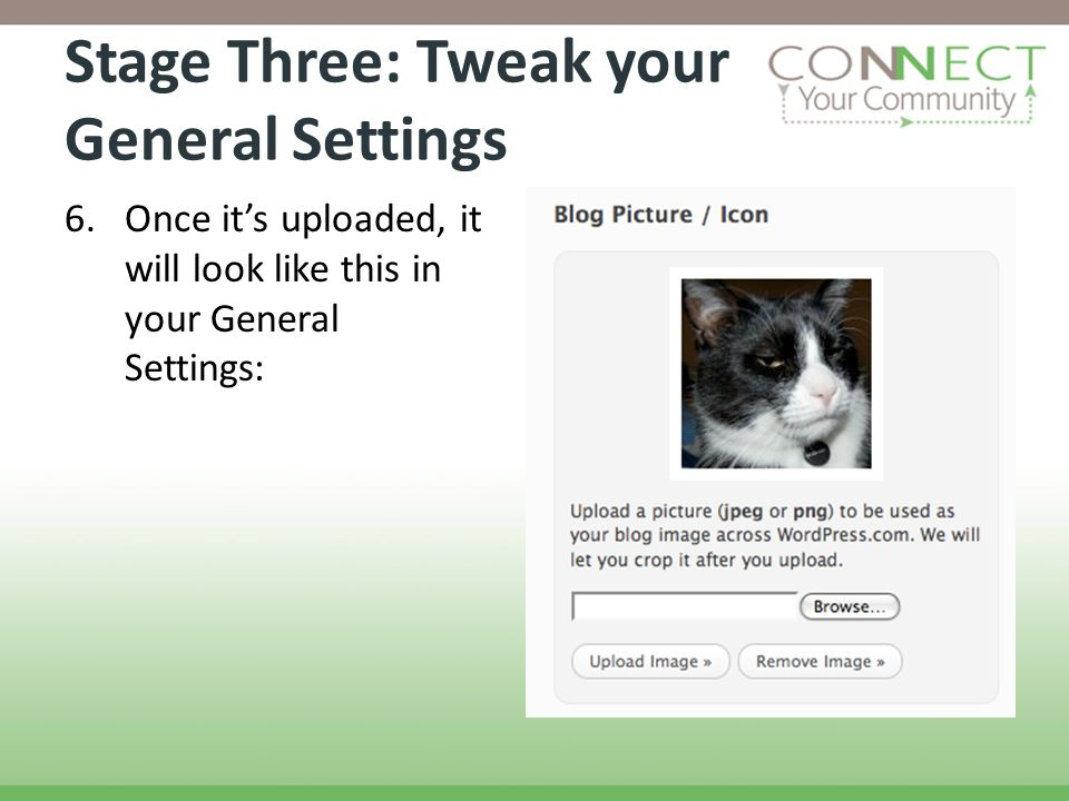 Stage Three: Tweak your General Settings 6.Once its uploaded, it will look like this in your General Settings: