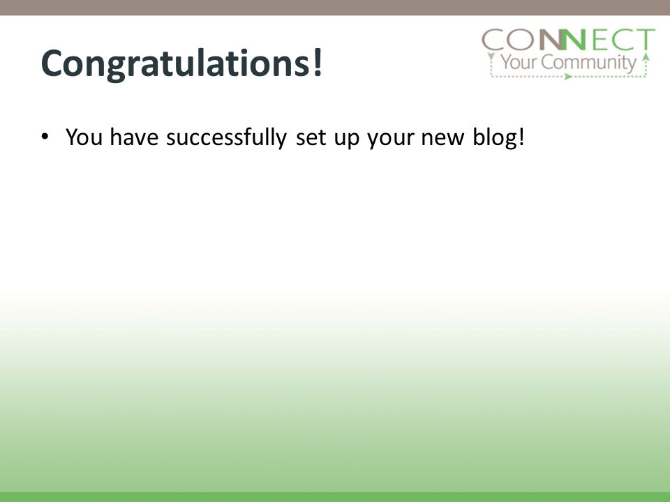 Congratulations! You have successfully set up your new blog!
