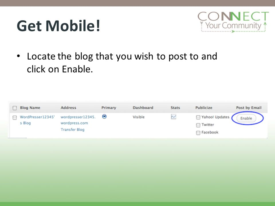 Get Mobile! Locate the blog that you wish to post to and click on Enable.