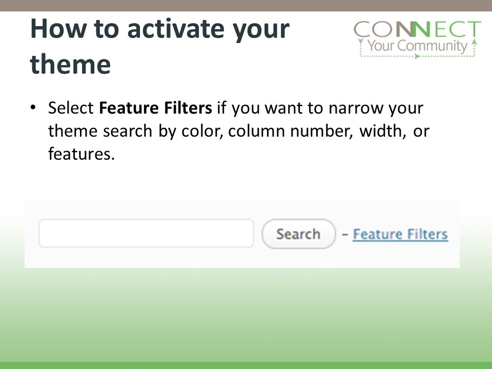 How to activate your theme Select Feature Filters if you want to narrow your theme search by color, column number, width, or features.