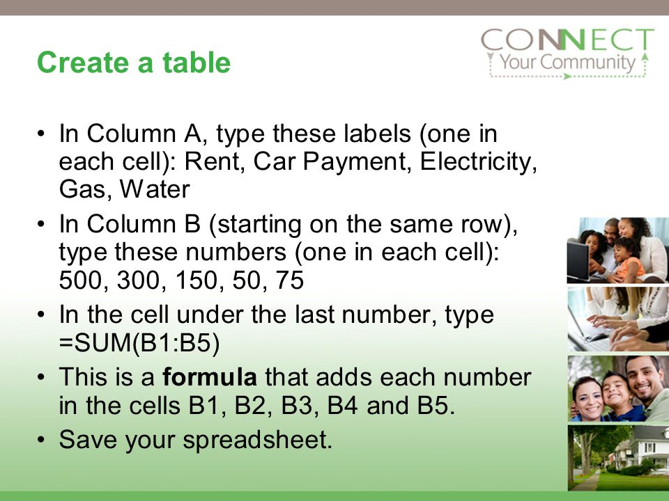 Create a table In Column A, type these labels (one in each cell): Rent, Car Payment, Electricity, Gas, Water In Column B (starting on the same row), type these numbers (one in each cell): 500, 300, 150, 50, 75 In the cell under the last number, type =SUM(B1:B5) This is a formula that adds each number in the cells B1, B2, B3, B4 and B5.